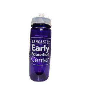 Purple water bottle to support Lancaster Early Education Center formerly Lancaster Day Care Center Quality early care & education since 1915.